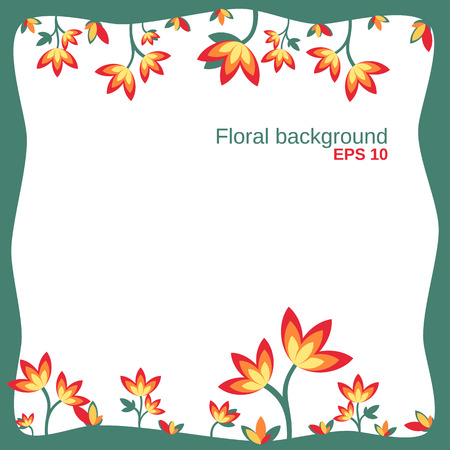 growing up: floral background with growing up flowers in the green frame colored for spring