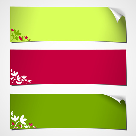 spring roll: set of three blank banners with curled corner colored for spring with flower decor Illustration