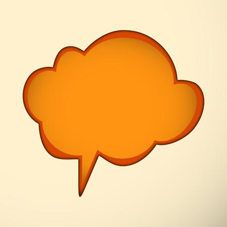 Orange speech bubble on the light background. Vector illustration. Vector