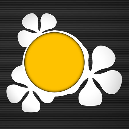 White floral theme with yellow  round frame on the dark background   Vector