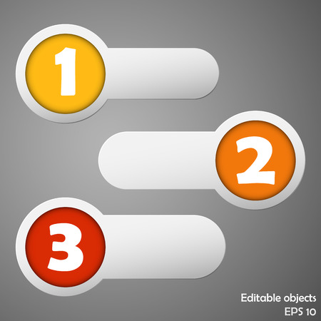 Three color circle and strip labels collection with numbers  Vector