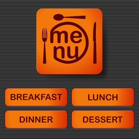 Orange buttons with text menu, breakfast, lunch, dessert and dinner on the metal background. Vector illustration. Vector