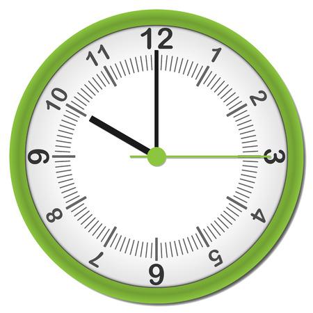 shadowed: plastic shadowed green clock with arabic numbers