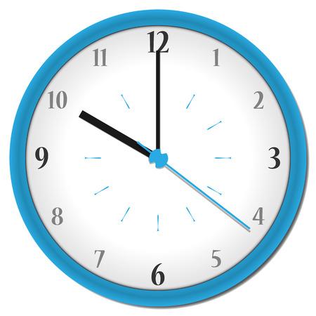 shadowed: plastic shadowed blue clock with arabic numbers Illustration