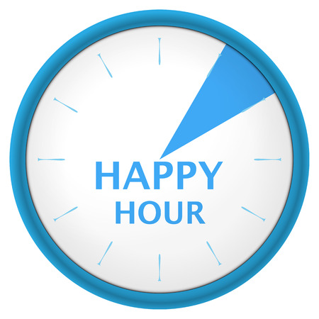 hands  hour:  blue clock with text happy hour