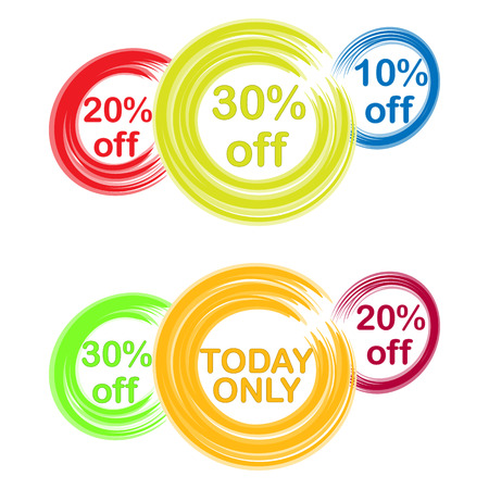 businnes: colored circles with text and discounts painted with brush
