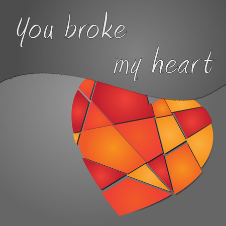 broken valentine colored heart on the grey background with text Vector