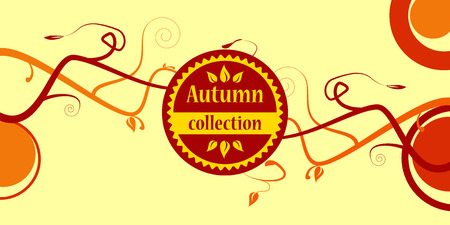 colored autumn collection text with branches Vector