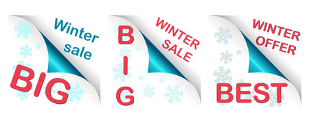 collection of three winter big curled corners, text and snowflakes Illustration