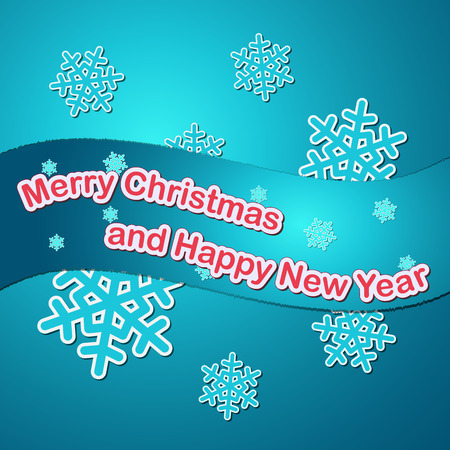 blue colored merry christmas and happy new year card with snowflakes Vector