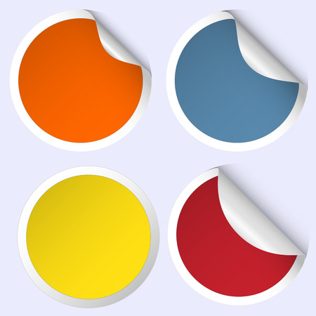 collection of colored curled cirles - red, orange, yellow, blue Vector