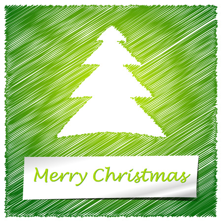scribbled: scribbled merry christmas tree with text
