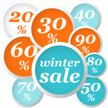 winter orange and blue circle labels with discounts and text Vector