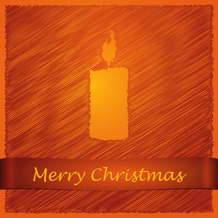 scribbled: scribbled merry christmas orange candle with text