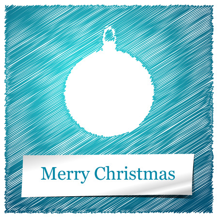 scribbled: scribbled merry christmas blue ball with text