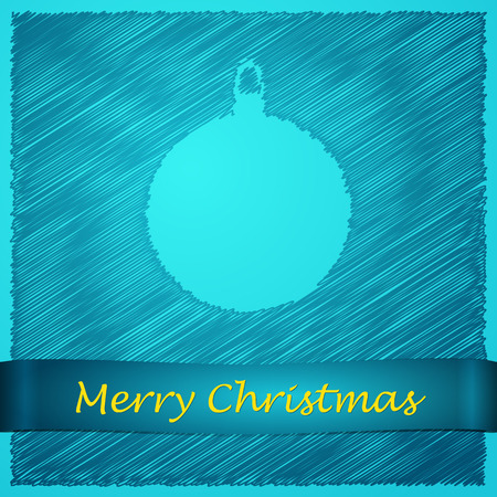 scribbled:  scribbled merry christmas blue ball with text Illustration