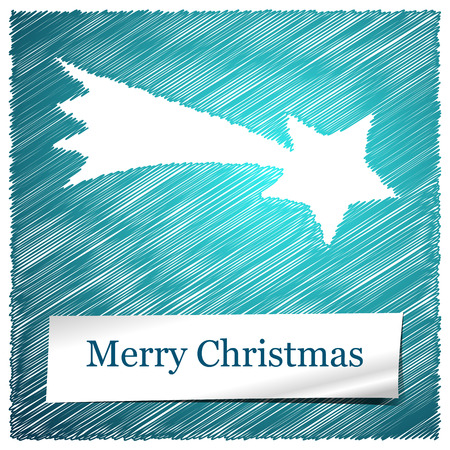 scribbled merry christmas blue bethlehem star with text