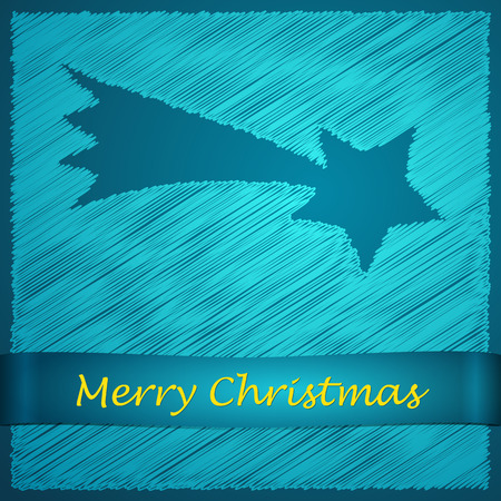 scribbled: scribbled merry christmas blue bethlehem star with text