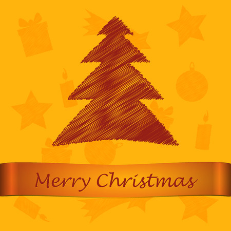 scribbled merry christmas brown tree with text on the yellow background with orange pattern Vector