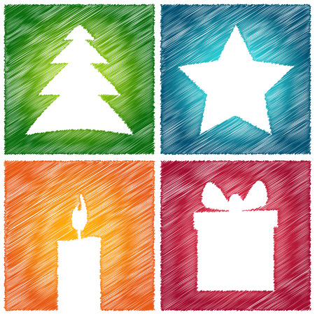 scribbled color christmas card with green tree, blue star, orange candle and red gift Vector