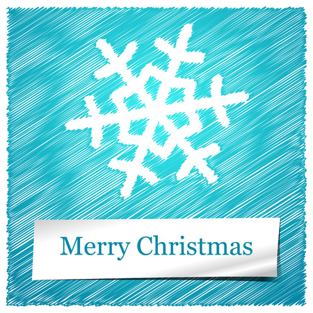 scribbled: scribbled merry christmas with white snowflakes  Illustration