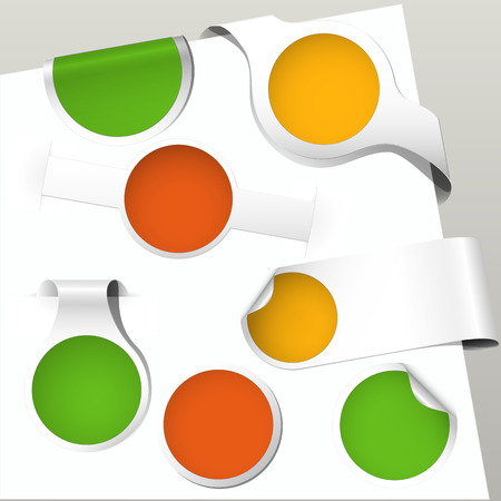 set of green, orange and yellow colored paper bookmarks and labels for autumn Vector