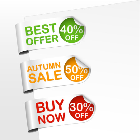 set of green,  orange and red bookmarks with curled corner  with text best offer, autumn sale and buy now Vector