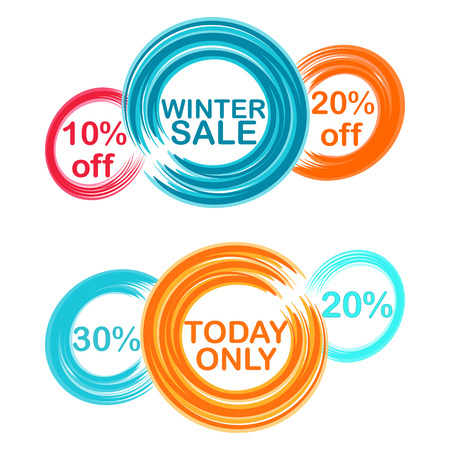 businnes: collection circles with text and discounts  Illustration