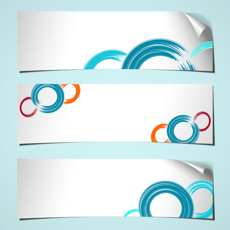 three white shadowed banners with curled corner and brush circles colored  Vector