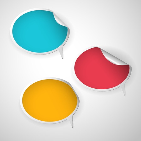 blue, yellow, red speech bubble with curled corner Vector
