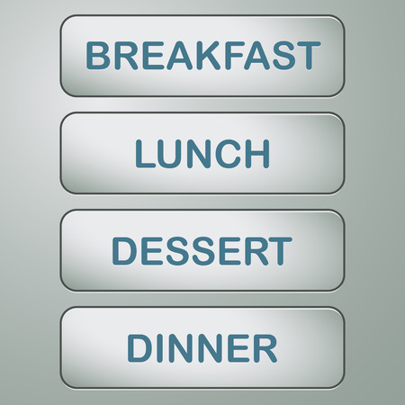 metal buttons with text breakfast, lunch, dessert and dinner Vector