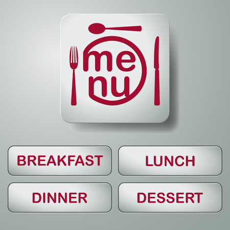 metal buttons with text menu, breakfast, lunch, dessert and dinner Vector