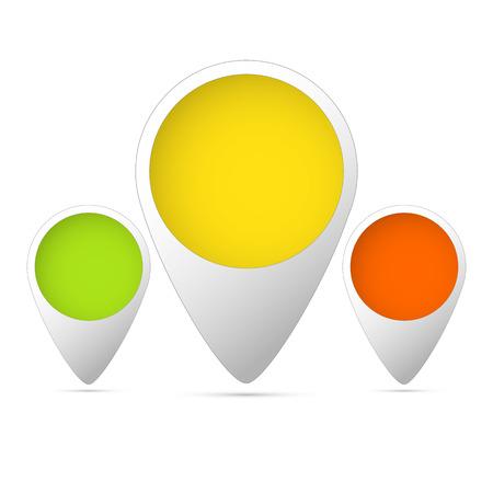 set of three tag colored green, yellow, orange