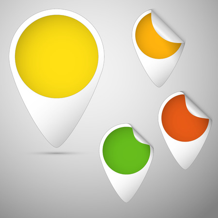 set of three curled tag colored green, yellow,  orange  Illustration