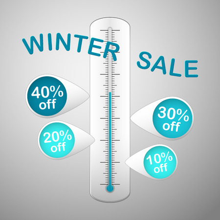 white thermometer with text winter sale and with four blue  pins promotion discounts Vector