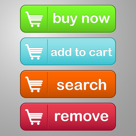 collection of four colored buttons with text buy now, add to cart, search and remove with a cart icon