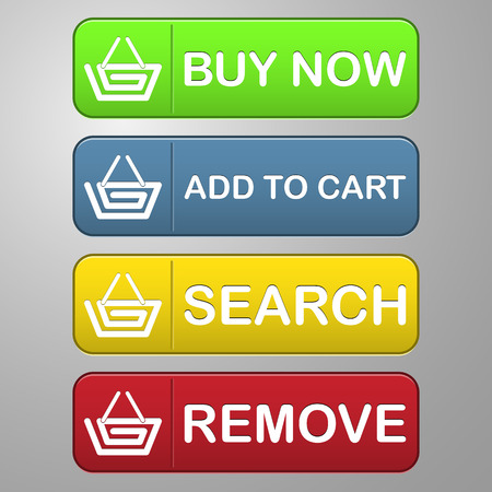 collection of four colored buttons with capital text buy now, add to cart, search and remove with a basket icon for shopping and sale Vector