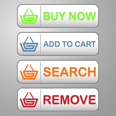 collection of four colored buttons with text buy now, add to cart, search and remove with basket icon for shopping and sale Vector