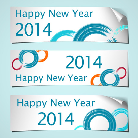 three white shadowed banners with curled corner and brush circles colored for celebrating   new year 2014 Vector