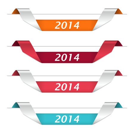 different colored curled strips for  new year 2024  Vector