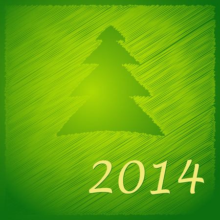 scribbled happy new year tree on the green background  Vector