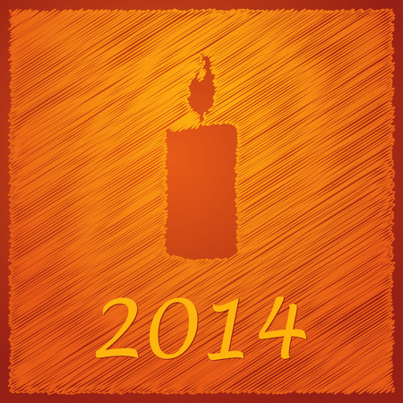 scribbled: scribbled happy new year orange candle  Illustration