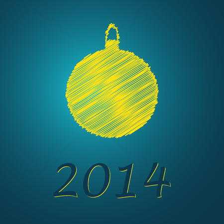 scribbled yellow ball with text on the blue background Vector