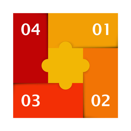 yellow, orange and red colored puzzle infographic with numbers one, two, three and four Vector