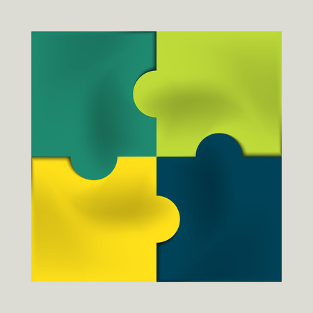 yellow, green and blue colored puzzle infographic concept Vector
