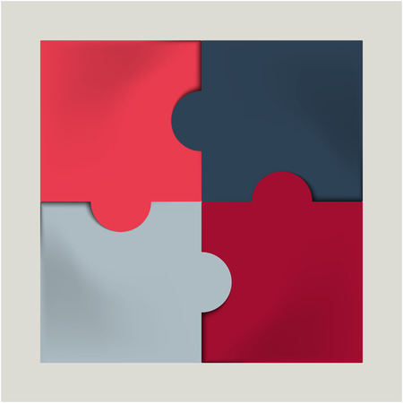 pink, red and gray colored  puzzle infographic concept  Vector