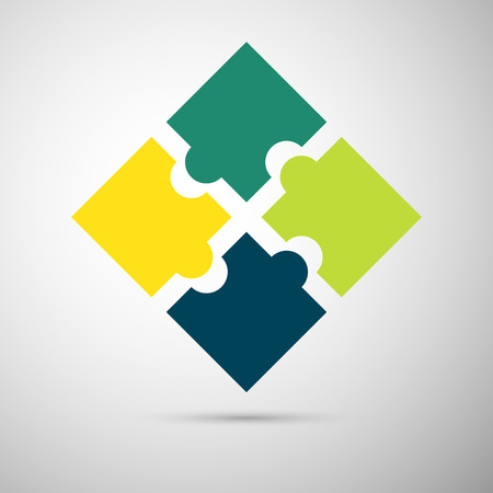 yellow and green colored puzzle infographic concept  Vector