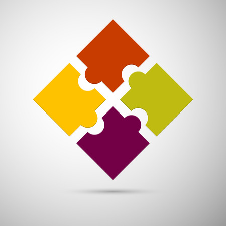 business puzzle: yellow, red, violet and green colored plastic puzzle infographic concept  Illustration