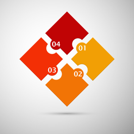 orange and red colored puzzle infographic concept with numbers Vector