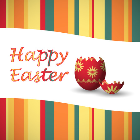 green, yellow, red and orange happy easter card with strips and easter egg Vector